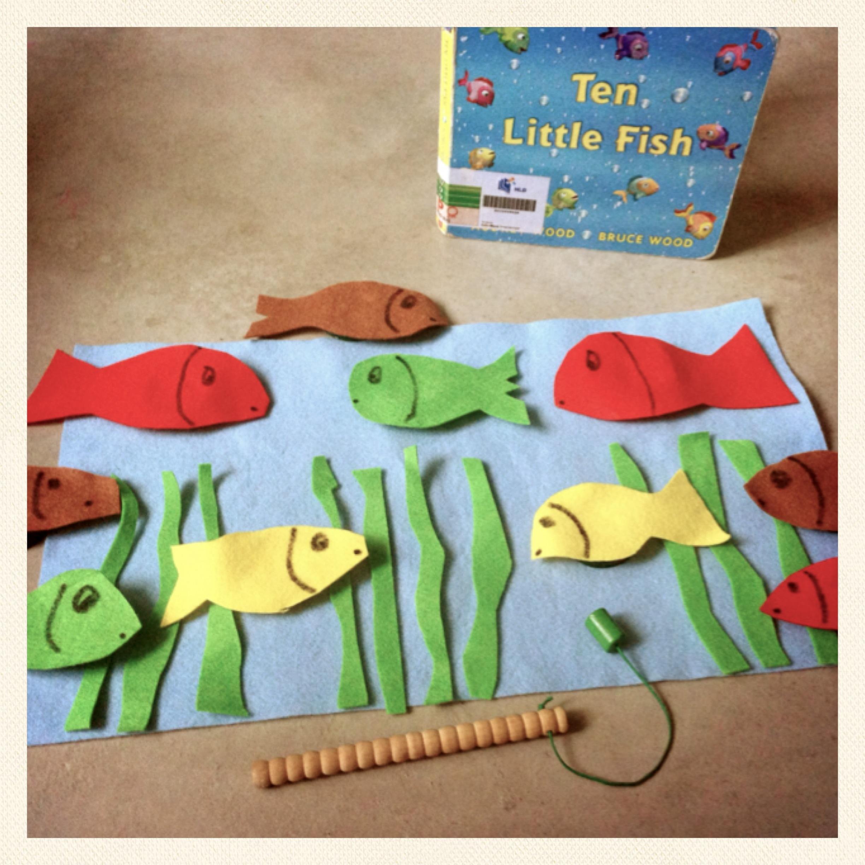 Daiso homeschool crafts for Ten little fish