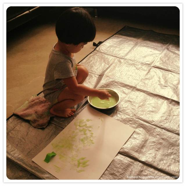 Inch by Inch activity: painting an inch worm