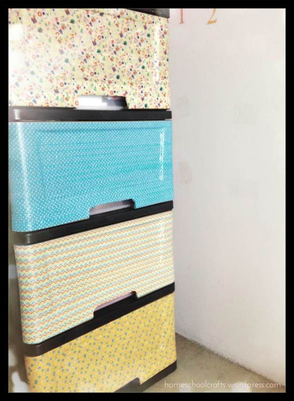 Makeover plastic storage cabinet drawers with washi tapes