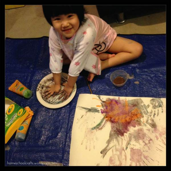 Wet-weather activity: finger painting