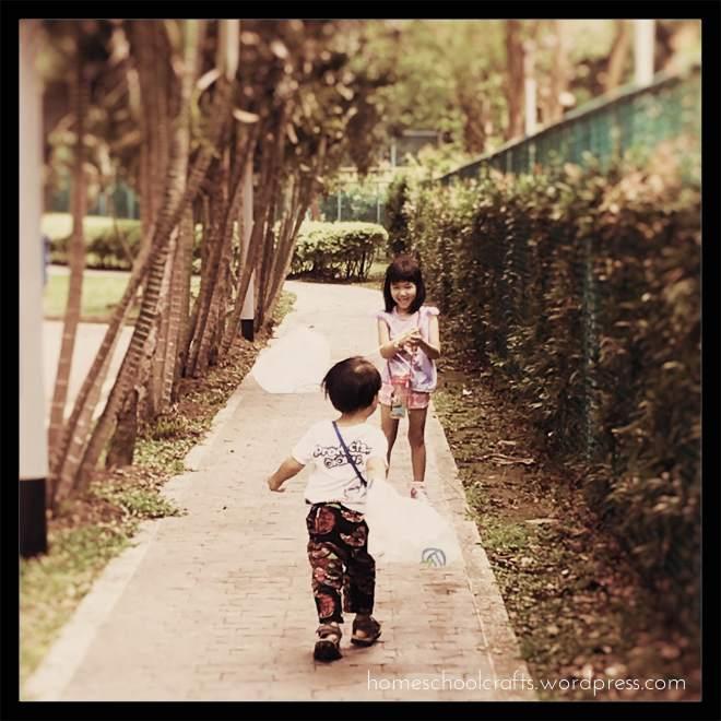 Children running with the wind.